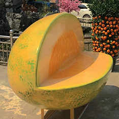 Life size fruit bench for garden and park decoration