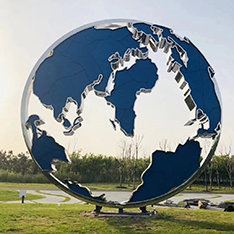 stainless steel world map sculpture