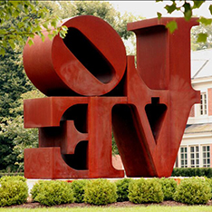 Famous large love english word sculptures in steel corten