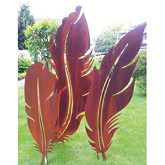 art feather design corten steel garden sculpture