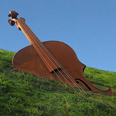 corten modern abstract guitar sculpture