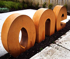 custom made english words corten steel sculpture