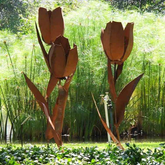 large park flowers corten sculpture