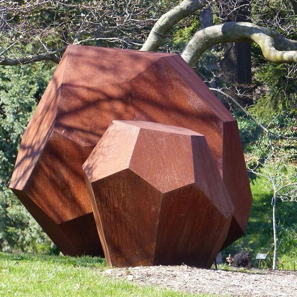 large stone shaped garden corten steel sculpture