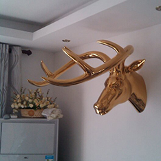 gold plate decorative deer head wall decor