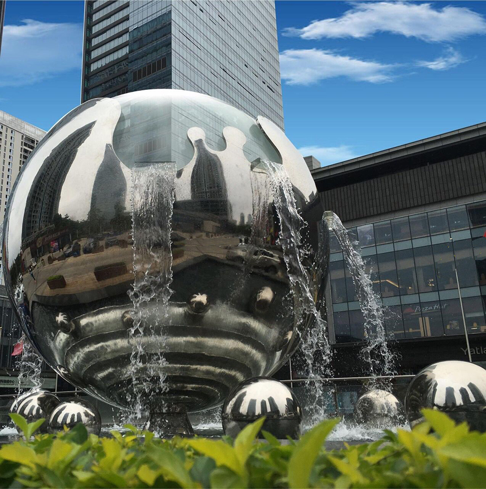 stainless steel ball art water fountain