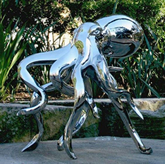 stainless steel mirror finishing large art octopus sculpture