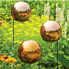 plate colorful mirror steel large outdoor spheres