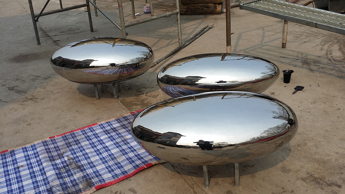 stainless steel mirror finishing stone bench outdoor garden decor