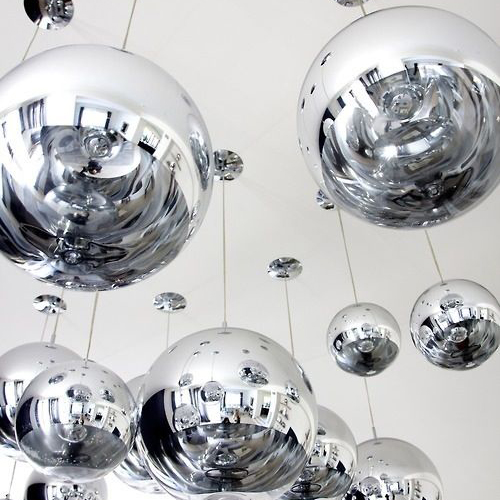 stainless steel sphere sculpture hanging on ceiling for decor