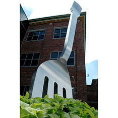 large fork stainless steel brushed sculpture